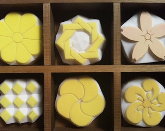japanese traditional pattern rubber stamps | monyou | birthday scrapbooking | diy | hand carved by talktothesun | set of 6 | w/wooden box