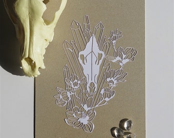 The King is Coming - Dire Wolf Skull, Magnolia & Crystals Papercut (WHITE)