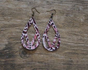 Leather Drop Earrings-Pink