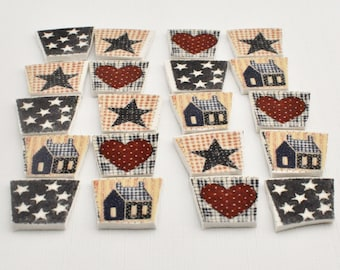 Mosaic Supply Broken Plate Tiles - Patriotic- Americana - Patchwork Quilt - Set of 20