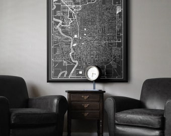 Indianapolis Map Print :  Black and White vintage large Indianapolis Indiana map print poster 1902