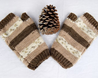 Knitted fingerless mitts - brown and cream design. Mens and Ladies sizes.