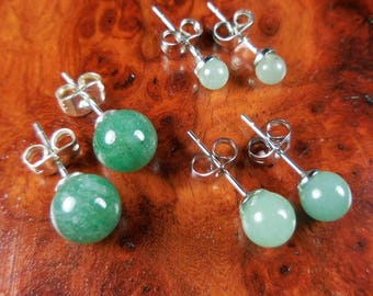 Aventurine Earrings - 8mm 6mm 4mm Green Gemstone Studs Polished Crystal Ball Jewelry Silver Stud Earring (H19) Healing Crystals And Stones