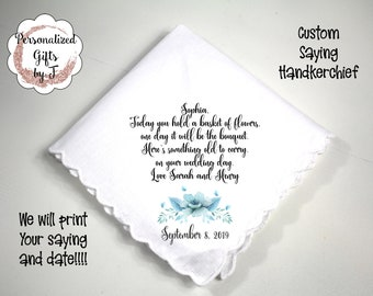 Mother of the Bride Gift, Custom Handkerchief, Wedding Hanky, Your custom Text Hanky, Mother of the Groom Hanky, Grandmother Gift
