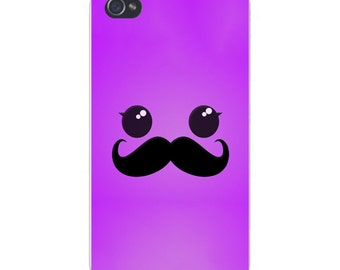 Apple iPhone Custom Case White Plastic Snap on - Glossy Eyes w/ Mustache Cute Closeup Face 6659