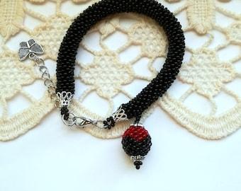 Black Bracelet, Rope Bracelet, Crochet Bracelet, Unique Bracelet, Beadwork Bracelet