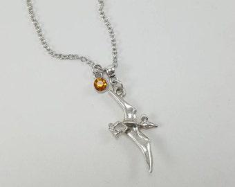 Pterodactyl Dinosaur Necklace, Dinosaur Necklace, Flying Dinosaur Necklace, Silver Dinosaur Necklace, Birthstone Jewelry