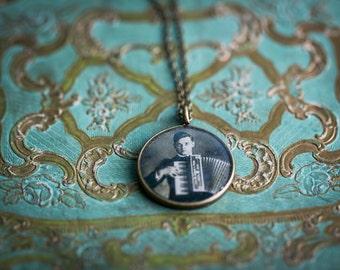 My Civil War Boyfriend - Jonathan - Victorian Pendant - Steampunk Necklace- Glossy Resin Charm