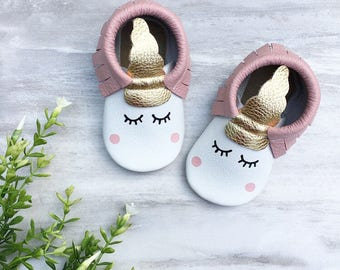 Unicorn Baby Moccasins - Blush, Unicorn Birthday