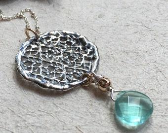 Pendentif en or, collier en dentelle ronde, pendentif rond, collier apatite, grand pendentif, collier de mariée, simple - N2035 dentelle argent en argent