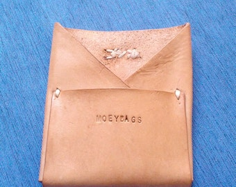 Leather card wallet veg tan wallet card slip minimalist. For the Purist. hand made and burnished