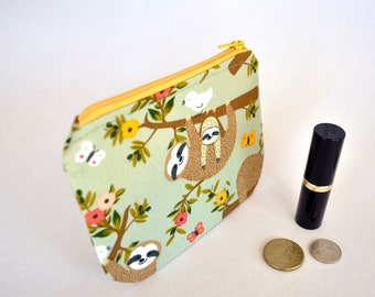 Sloth coin purse, small change bag, earbud pouch