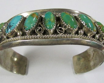 Navajo Justin Morris Signed Silver and Turquoise Cuff Bracelet