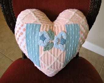 "Vintage Chenille Boudoir Heart Valentine Pillow ""Peach and Teal""  13 1/2"" x 13 1/2"""