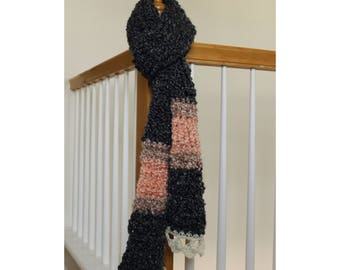 Handmade Crochet Scarf in Charcoal and Pink