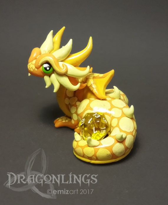 Polymer Clay Dragon Dice Holder- Shades of Yellow: Butterbug