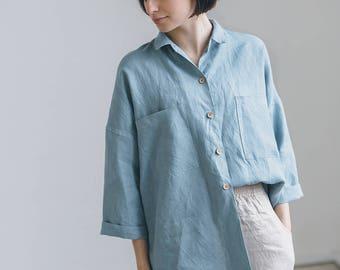 Linen shirt/ Drop shoulder shirt/ Oversized linen shirt/ Washed linen clothes/ Linen blouse/ Linen everyday shirt/ #37 KAY