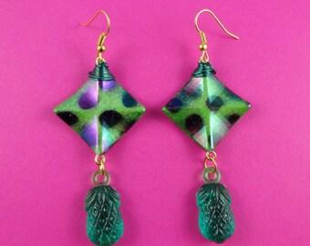 Green Pineapple Earrings - funky square beads, green abstract earrings, summer jewelry, fruit earrings, fruity earrings, kitsch quirky fun
