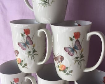 Butterfly Coffee Mugs, Set/6, Takahashi Cups, Made in Japan