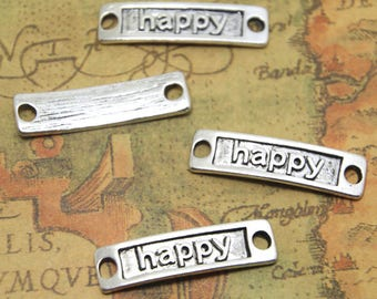 12pcs Happy charms silver tone Rectangle happy Charm pendants Happy Tag Connector 9x34mm ASD1379
