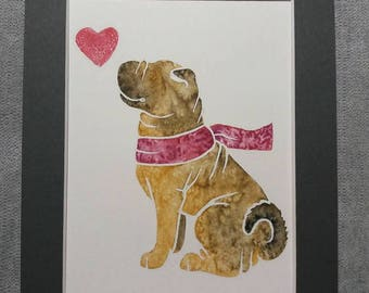 SHAR PEI - watercolour cartoon of a Chinese Shar-Pei dog, perfect gifts for dog lovers by Yorkshire animal artist Jess Chappell