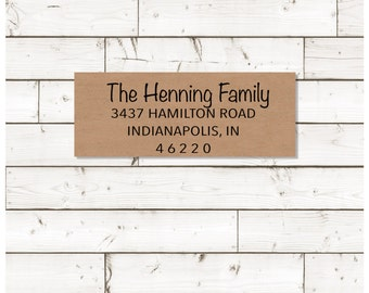 Return address label, address label, custom return address label, brown kraft label, rectangular label, wedding announcements - SET OF 30