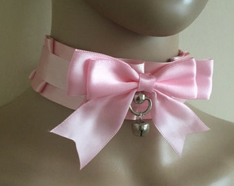 Pink Choker - Pleated Pet Play Collar BDSM Choker Kitten Play - BDSM Proof