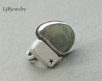 Silver Jasper Ring, Silver Ring, Imperial Jasper, Metalsmith, Metalwork, Artisan Jewelry, Handmade Jewelry, Silver Jewelry, Statement Ring