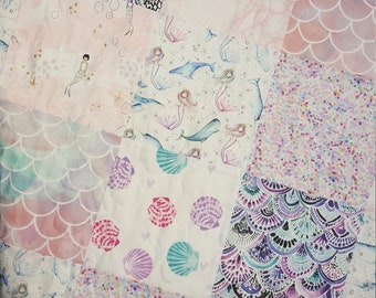 Mermaid Baby Girl Quilt, Nautical, Narwhal Quilt, Toddler Girl Bedding, Crib Quilt, Nursery Bedding, Under the Sea