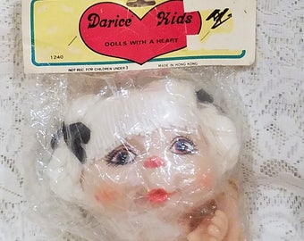 Darice Kids Vintage Yarn Hair Doll Head With Hands, White Hair, 4 Inches, Kimme, 1240