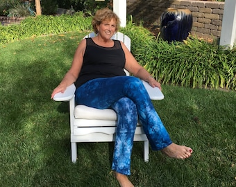 Tall Cosmic Blue Tie Dye Yoga Pants Including Extra Long and Plus Sizes by Splash Dye Activewear