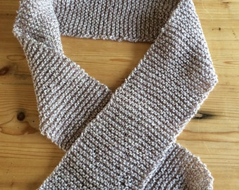Hand knitted scarf - light brown and cream - 140 cm long