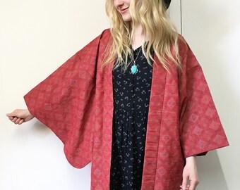 Vintage Kimono, Haori Kimono, Japanese Kimono, Haori Jacket, Duster Jacket, Boho Kimono, Red Kimono,