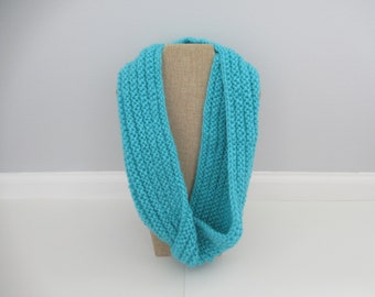 Turquoise Cowl, Turquoise Scarf, Blue Infinity Scarf, Knit Scarf, Heavy Turquoise Scarf, Gift for Her, Gift Under 15, Gift for Coworker
