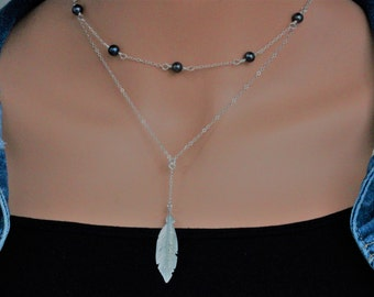 Feather Necklace,  Lucky Feather Necklace, Y Necklace layered feather necklace in Sterling Silver , Feather , Celebrity Feather necklace