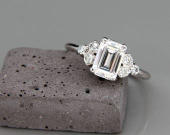 14K White Gold Moissanite and Diamonds Engagement Ring  | Charles & Colvard Forever One Emerald Cut Mossanite Diamonds engagement ring