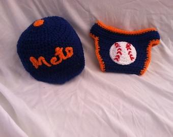 Crocheted Baby New York Mets Inspired Baseball Photo Prop