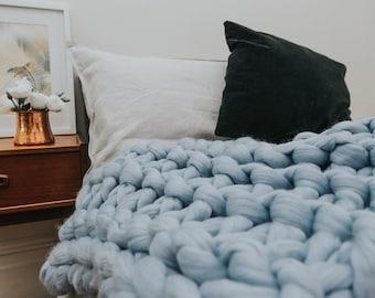 Chunky knit Merino wool bed runner