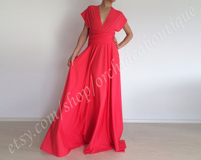 Long Pink Prom Dress Coral Convertible Dress Infinity Maxi