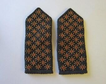 Black Mittens Fingerless Mittens Hand Knit Mittens Wool Mittens Warm Winter Mittens Womens Mittens Winter Knit Mittens Fingerless Mittens