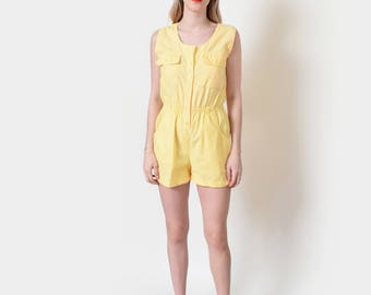 Yellow Cotton Romper 80s Vintage Playsuit Onesie Jumpsuit S M