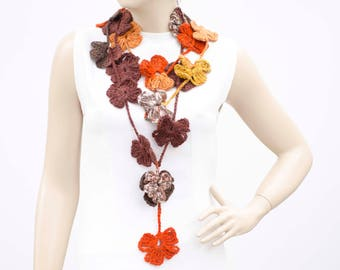 Crochet lariat flower scarf ,fall colors
