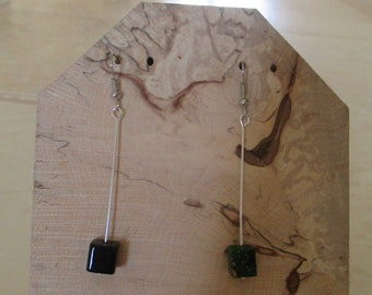 earrings with wooden beads 8mm by 8mm square shape