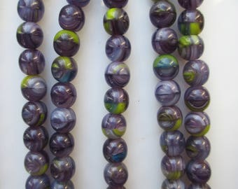 Czech Beads with Purple and Green Oh My!