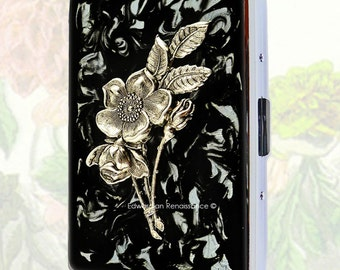 Art Nouveau Floral Metal Cigarette Case Inlaid in Hand Painted Enamel Black Ink Swirl Design Victorian Botanical Metal Wallet Personalized