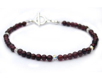 Garnet and Crystal Dainty Bracelet for Women Sterling Silver