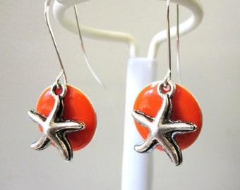 Starfish Earrings Orange Enamel Nautical Earrings