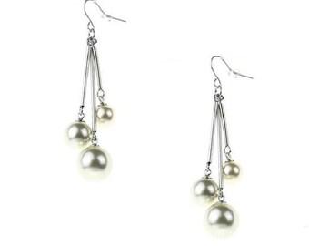 Triple  Glass Pearl Earrings