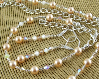 Everyday Elegance Peaches and Cream three piece Swarovski crystal and pearl set includes necklace bracelet and earrings