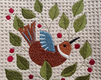Bird in Berry Vine (Beige) - Microfiber Waffle Weave Kitchen Hand Towel